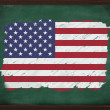 Stock Photo: United States flag painted with chalk on blackboard