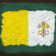 Vatican City flag painted with chalk on blackboard — Stock Photo