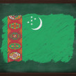 Turkmenistan flag painted with chalk on blackboard — Stock Photo