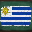 Uruguay flag painted with chalk on blackboard — Stockfoto