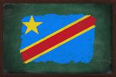 République démocratique du drapeau congo peint à la craie sur blac — Photo