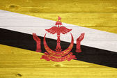 Brunei Flag painted on old wood plank background. — Foto Stock