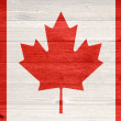 Canada Flag painted on old wood plank background. — Stock Photo