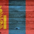 Mongolia Flag painted on old wood plank background. — Stock Photo