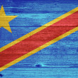 Democratic Republic of the Congo Flag painted on old wood plank — Stock Photo
