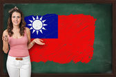 Beautiful and smiling woman showing flag of Republic of China on — Stock Photo