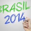 Brasil 2014 on board world cup — Stock Photo