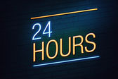 24 hours neon sign for shop — Stockfoto