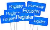 Register for social media buttons — Stock Photo
