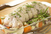 Stuffed Raw Capon in Glass Roasting Tray — Stock Photo