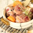 Raw Chicken Ingredients in Earthen Pot — Stock Photo