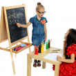 Stock Photo: Two girls play in school (series)