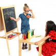 Two girls play in school (series) — Stock Photo