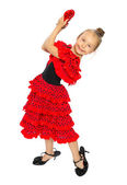 The girl in a red Spanish dress (series) — Stock Photo