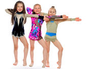 Little beautiful gymnasts — Stock Photo