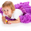 2- the summer girl with toys — Stock Photo