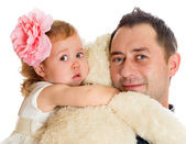 The 2-year-old girl with the father — Stock Photo