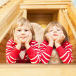 Portrait of cute twin girls — Stock Photo