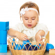 Little girl playing with cubes — Stock Photo #34858015