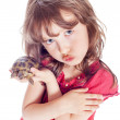 Turtle and a girl — Stock Photo