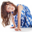 Cute little girl shows — Stock Photo
