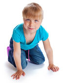 The lovely girl is on all fours — Stock Photo