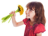 The beautiful girl with a bouquet — Stock Photo