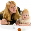 Mom and little daughter a Christmas tree — Stock Photo #37975447