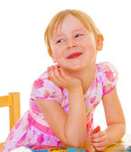 Changed little teeth charming girl. — Stock Photo