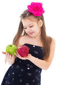 Young girl with apples. — Foto de Stock