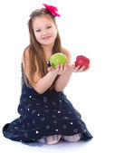 Young girl with apples. — Stock Photo
