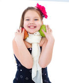 Young girl with apples. — Foto Stock
