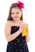 Young girl with glass of orange juice. — 图库照片