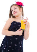 Young girl with glass of orange juice. — Stok fotoğraf