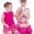 Two little girlfriends stroking rabbit — Stock Photo #43522071