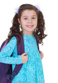 young schoolgirl with satchel. — Stock Photo