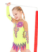 Girl gymnast with ribbon. — Stockfoto