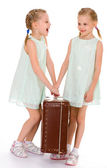 twin sisters with a big old suitcase. — Stock Photo