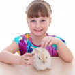 little girl with adorable rabbit — Stock Photo #44207287