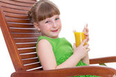 happy little girl drinking — Stock Photo