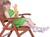 happy little girl drinking — Stock Photo
