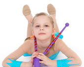 Cute girl gymnast with sports maces. — Stock Photo