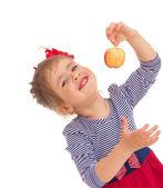 Menina com maçã. — Fotografia Stock