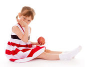 Young girl with an apple. — Stock Photo