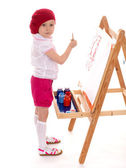 Young girl draws. — Stock Photo