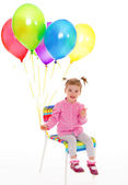 Girl with balloons. — Stock Photo