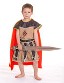 Little boy dressed as a knight. — Stock Photo
