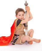Mały chłopiec przebrany za rycerza. — Zdjęcie stockowe
