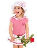 Charming girl with a rose in his hand. — Stock Photo