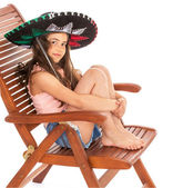 Young girl in sambrero — Stock Photo